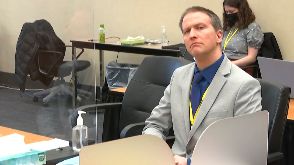 In this image from video, former Minneapolis police Officer Derek Chauvin listens as his defense attorney Eric Nelson gives closing arguments as Hennepin County Judge Peter Cahill preside Monday, April 19, 2021, in the trial of Chauvin.