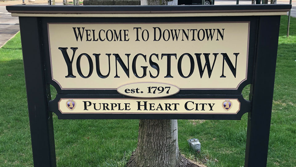 Welcome to Downtown Youngstown sign at center of Downtown Youngstown