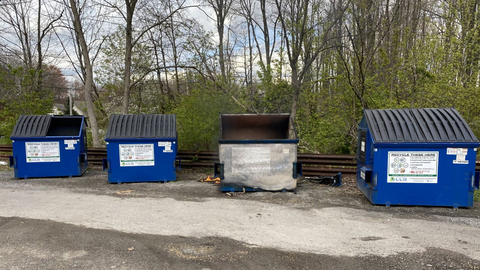 A dumpster caught fire at a recycling facility on South Avenue in Columbiana Wednesday evening. (2)