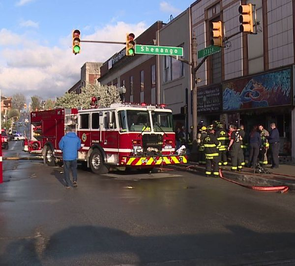 Several emergency crews converged in downtown Sharon on Thursday.