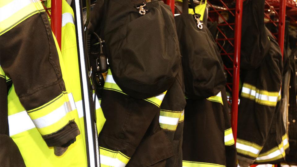 Firefighter uniforms at the Farrell fire department.