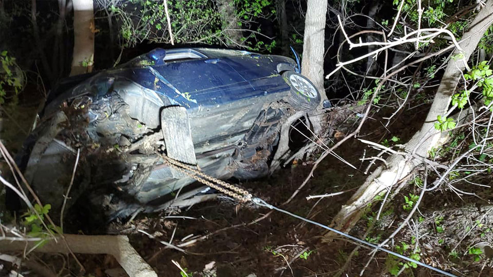 Hermitage and Sharpsville firefighters respond after car crashes into deep ravine.