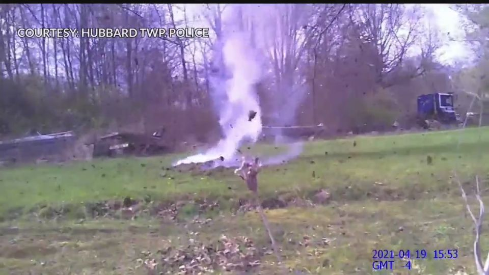 Video released Tuesday shows the controlled explosion ballistics experts had to perform following a burglary investigation in Hubbard Township.