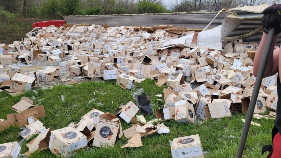 Boxes scatter the ground as West Middlesex firefighters worked to clear the I-80 crash in Shenango Township.