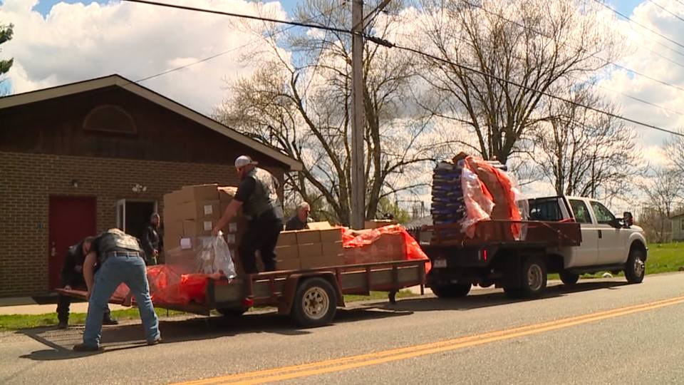 The food was hauled in by a trailer and taken to All About the Paws in Austintown.