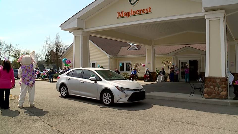 An Easter drive-by parade was held in Struthers Saturday for the residents at Maplecrest Skilled Nursing and Rehab Center.