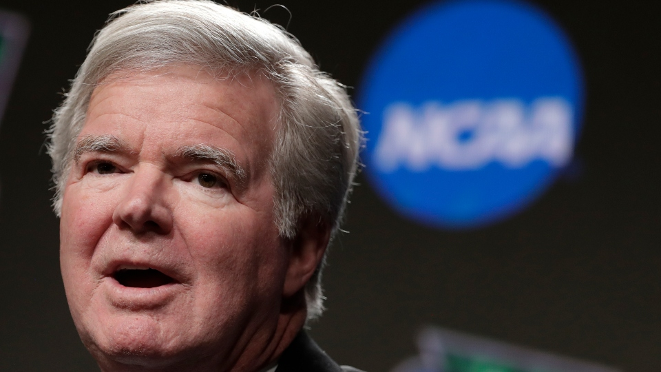 In this April 4, 2019, file photo, NCAA President Mark Emmert answers questions during a news conference at the Final Four college basketball tournament in Minneapolis.