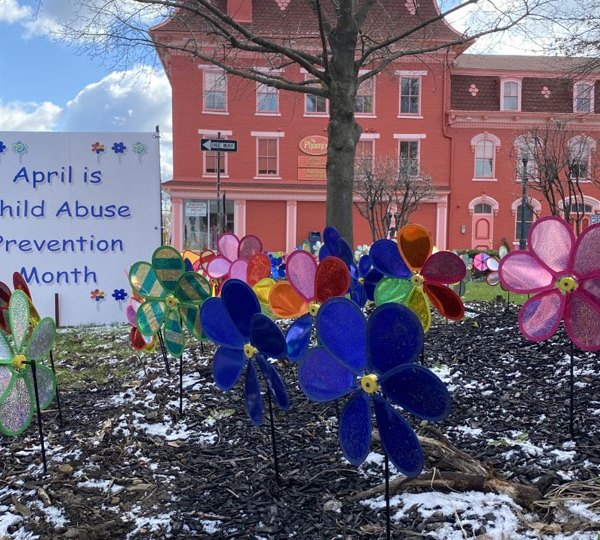 Pinwheels were planted in Lisbon Square to bring awareness to child abuse.
