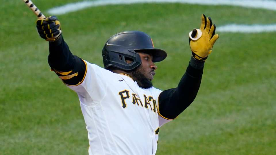 Pittsburgh Pirates' Gregory Polanco bats during a baseball game against the St. Louis Cardinals in Pittsburgh, Friday, April 30, 2021.