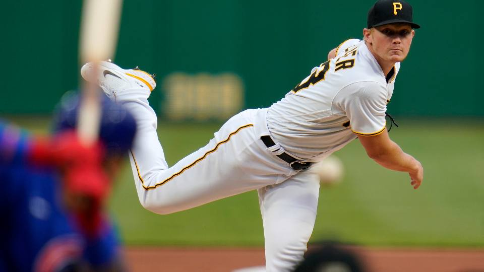 Pittsburgh Pirates starting pitcher Mitch Keller delivers during the second inning of a baseball game against the Chicago Cubs in Pittsburgh, Saturday, April 10, 2021.
