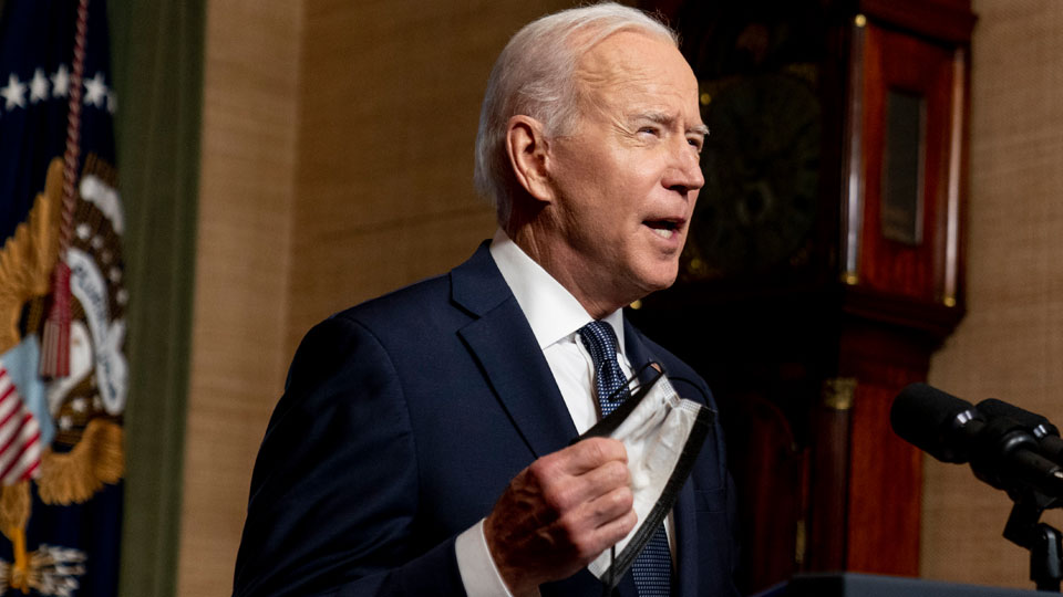 President Joe Biden speaks from the Treaty Room in the White House about the withdrawal of the remainder of U.S. troops from Afghanistan