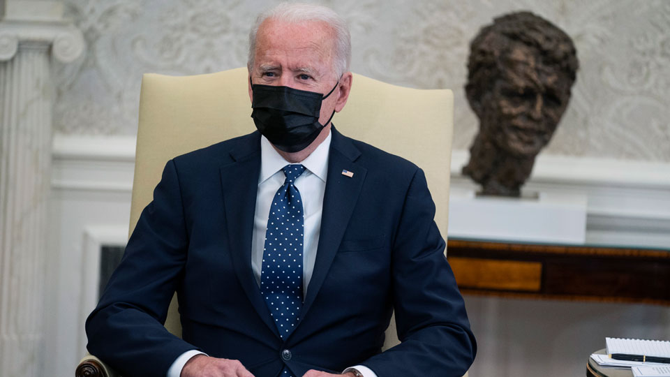 President Joe Biden speaks during a meeting with members of the Congressional Hispanic Caucus, in the Oval Office of the White House, Tuesday, April 20, 2021, in Washington