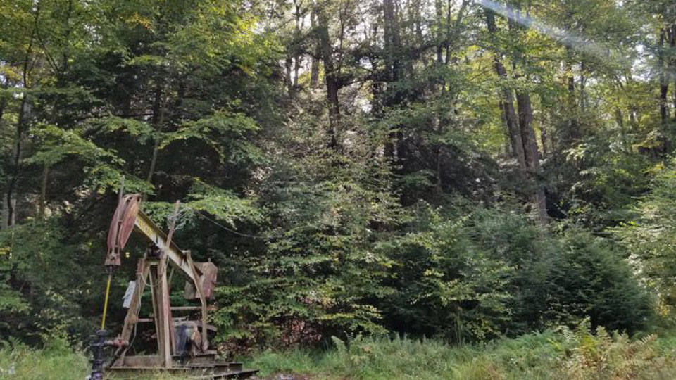 An oil well sits in the Allegheny National Forest, in Warren County, Pennsylvania.