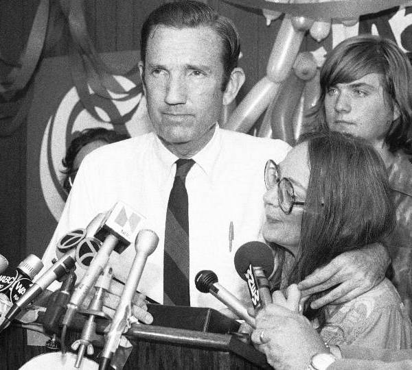 In this Wednesday, Sept. 14, 1976 file photo, Ramsey Clark, Democratic candidate for the U.S. Senate, center, speaks at Lincoln Center in New York. Ramsey Clark, the attorney general in the Johnson administration who became an outspoken activist for unpopular causes and a harsh critic of U.S. policy, has died, Friday, April 9, 2021. He was 93.