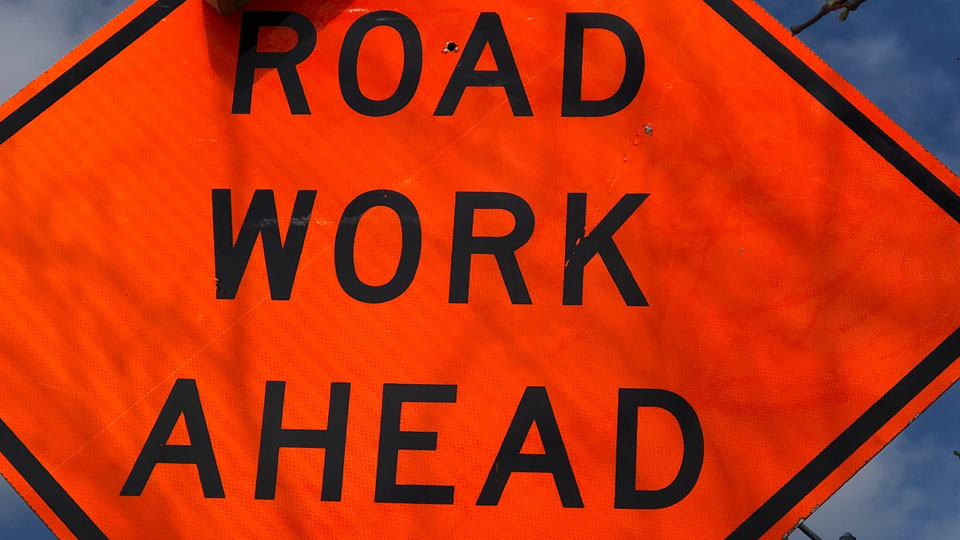 Generic road work ahead sign in construction zone