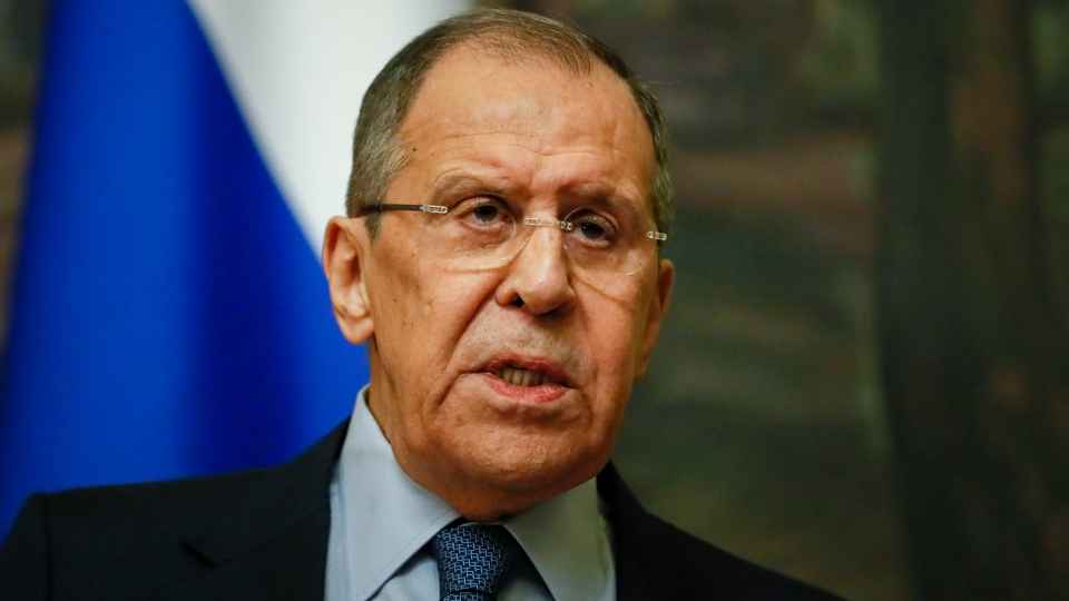 Russian Foreign Minister Sergey Lavrov speaks to the media during his and Serbia's Foreign Minister Nikola Selakovic joint news conference following their talks in Moscow, Russia, Friday, April 16, 2021.