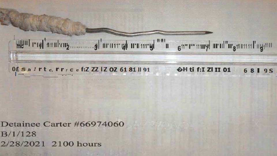 Shank confiscated from inmate Lindsey Carter at NEOCC
