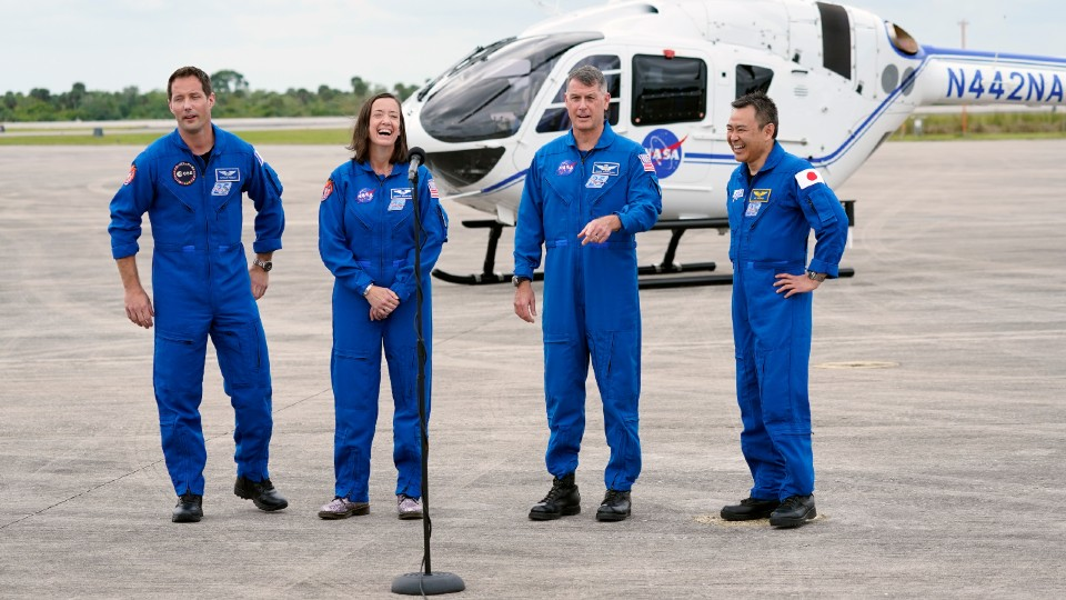 Spacex Crew 2 astronauts Thomas Pesquet, Megan Mcarthur, Shane Kimbrough and Akihiko Hoshide
