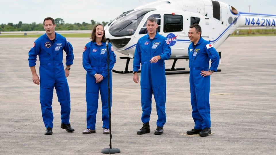 Spacex Crew 2 astronauts Thomas Pesquet, Megan Mcarthur, Shane Kimbrough and Akihiko Hoshide
