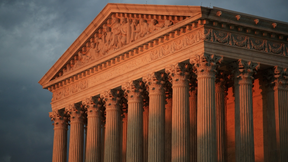 In this Oct. 4, 2018, file photo, the U.S. Supreme Court is seen at sunset in Washington.