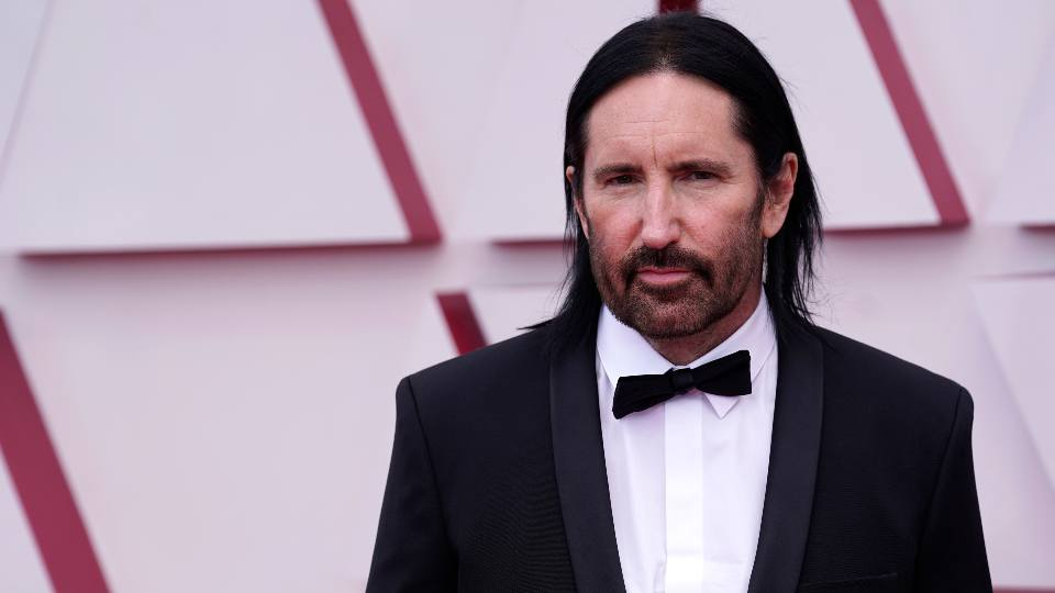 Trent Reznor arrives at the Oscars on Sunday, April 25, 2021, at Union Station in Los Angeles.
