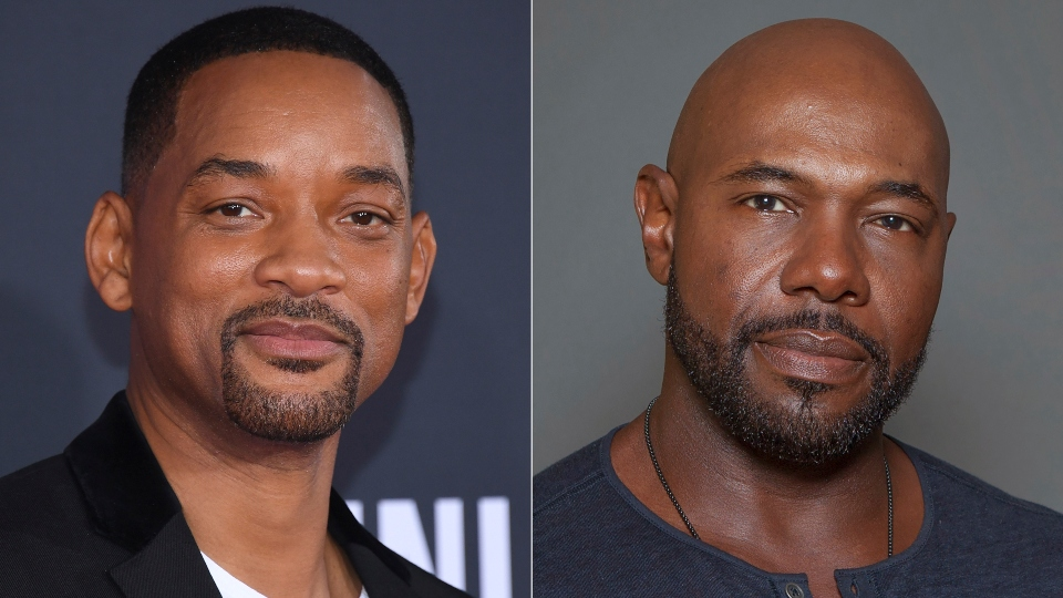 """Will Smith attends the premiere of """"Gemini Man"""" in Los Angeles on Oct. 6, 2019, left, and director Antoine Fuqua appears during a photo session in Los Angeles on July 12, 2015."""