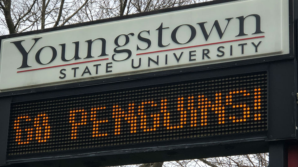 A Go Penguins sign at Youngstown State University