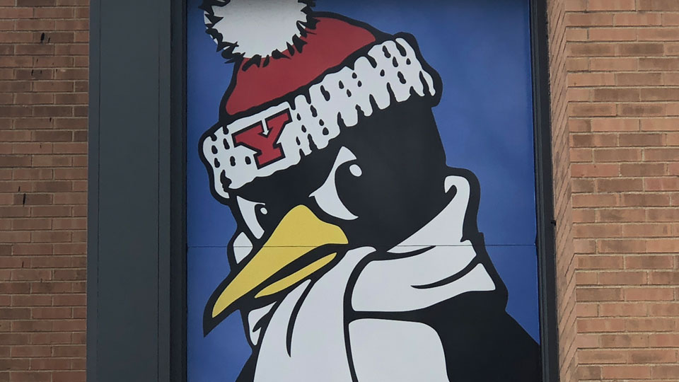 A photo of YSU's mascot, Pete the Penguin, at Kilcawley Center