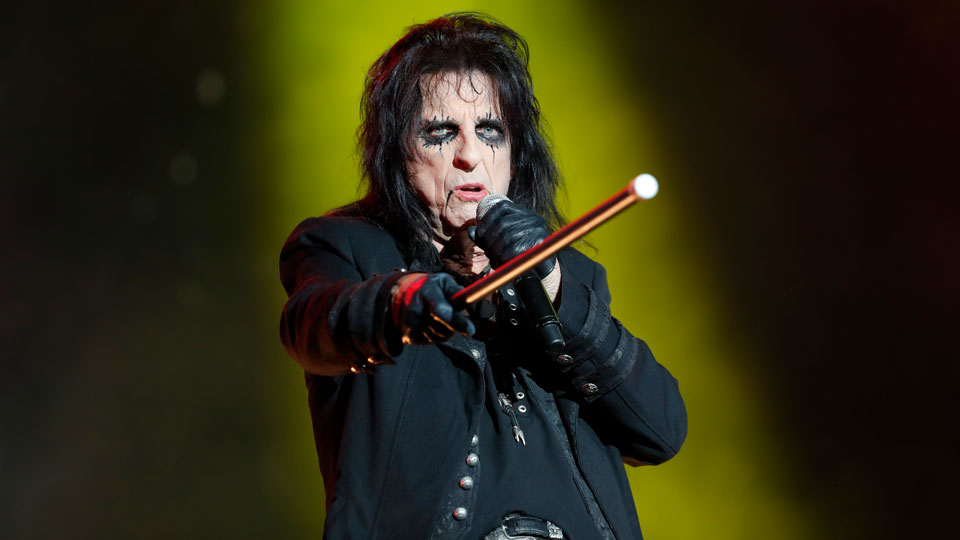 Alice Cooper performing on stage