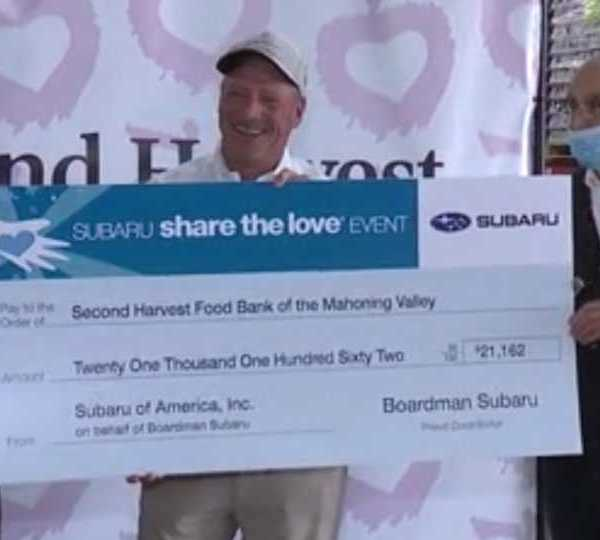 Boardman Subaru presented a check to the Mahoning Valley Second Harvest Food Bank on Thursday.