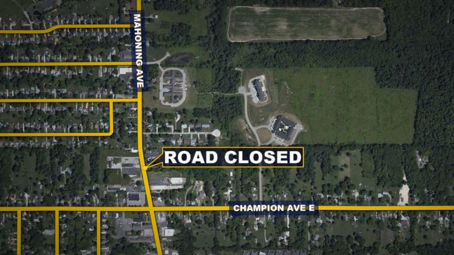 Champion Ave, Mahoning Ave in Champion Road Closed Map