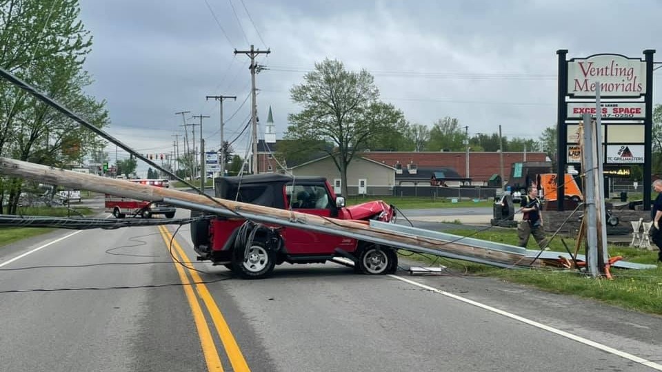A Jeep crashed into a utility pole on Mahoning Avenue in Champion