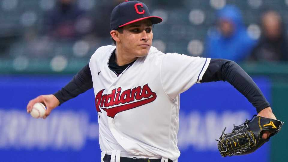 Cleveland Indians starting pitcher Eli Morgan delivers in the first inning of the team's baseball game against the Toronto Blue Jays, Friday, May 28, 2021, in Cleveland.