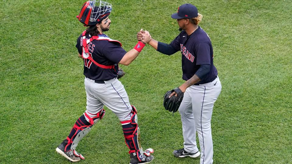 ClevelandCleveland Indians relief pitcher Emmanuel Clase, right, celebrates with catcher Austin Hedges after the Cleveland Indians defeated the Chicago White Sox in a baseball game in Chicago, Sunday, May 2, 2021. Indians relief pitcher Emmanuel Clase, right, celebrates with catcher Austin Hedges after the Cleveland Indians defeated the Chicago White Sox in a baseball game in Chicago, Sunday, May 2, 2021. (AP Photo/Nam Y. Huh)
