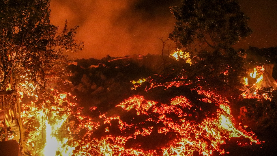 Lava from the eruption of Mount Nyiragongo is seen in Buhene, on the outskirts of Goma, Congo in the early hours of Sunday, May 23, 2021.