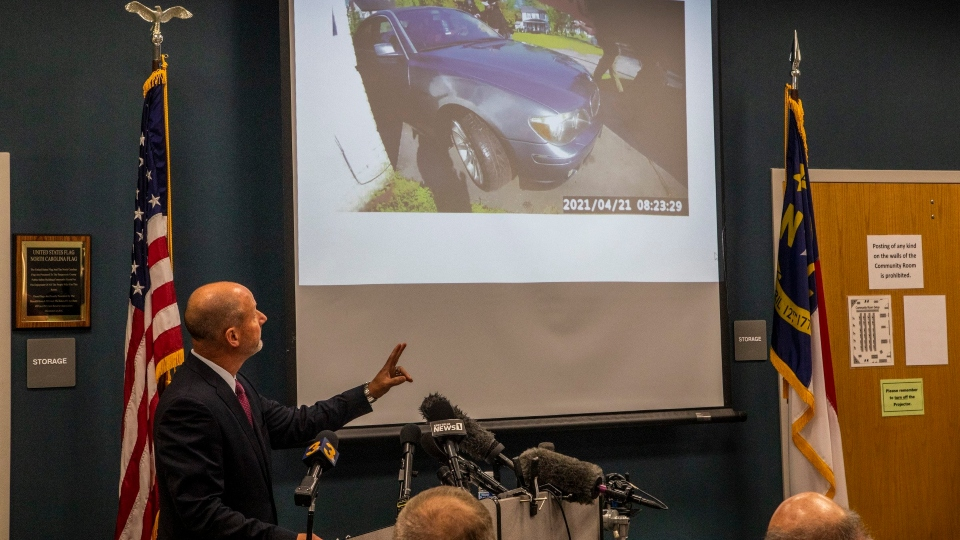 Pasquotank County District Attorney Andrew Womble shows still images from police body camera footage after announcing he will not charge deputies in the April 21 fatal shooting of Andrew Brown Jr. during a news conference Tuesday, May 18, 2021 at the Pasquotank County Public Safety building in Elizabeth City, N.C.