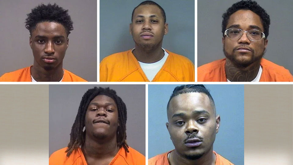 Devonte Clay, Joquezz Robins, Joseph Valentin, Terrence Sellers, Thomas Bailey, All five suspects are facing gun charges from Youngstown police.