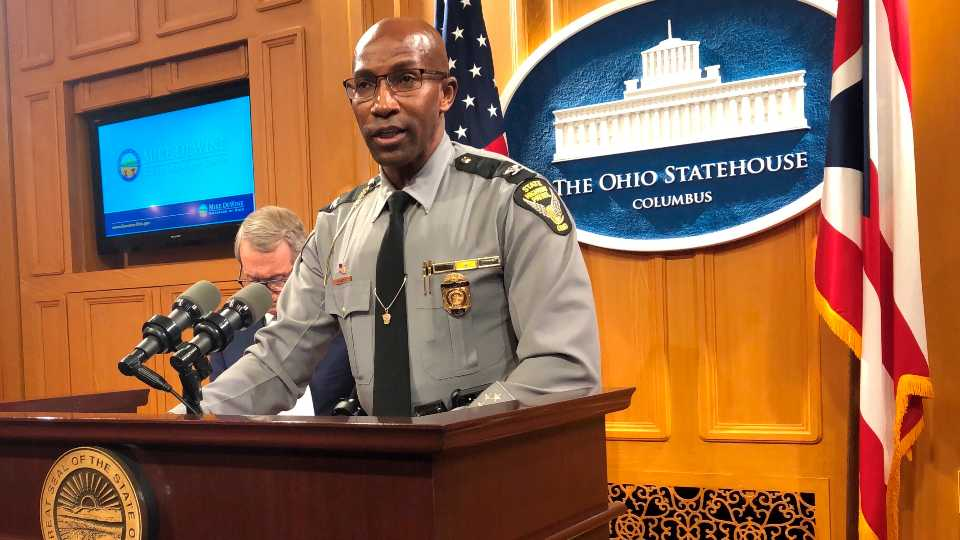 Colonel Richard Fanbro, Superintendent of the Ohio State Highway Patrol, discusses patrol efforts to reduce distracted driving accidents during the holidays, at a news conference promoting safe holiday driving and also attended by Ohio Gov. Mike DeWine, on Friday, Dec. 20, 2019, in Columbus, Ohio. Fanbro said distracted driving is unsafe and irresponsible and can have devastating results for families of people injured or killed in distracted driving accidents.