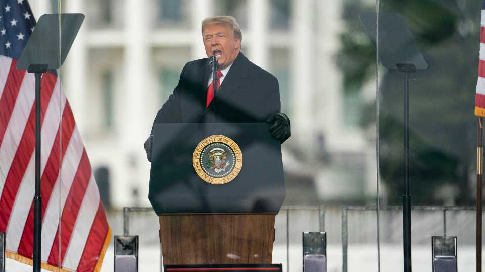 FILE - In this Jan. 6, 2021, file photo, President Donald Trump speaks during a rally protesting the electoral college certification of Joe Biden as President in Washington. Lurking beneath Facebook's decision on whether to continue Donald Trump's suspension from its platform is a far more complex and consequential question: Do the protections carved out for companies when the internet was in its infancy 25 years ago make sense when some of them have become global powerhouses with almost unlimited reach?
