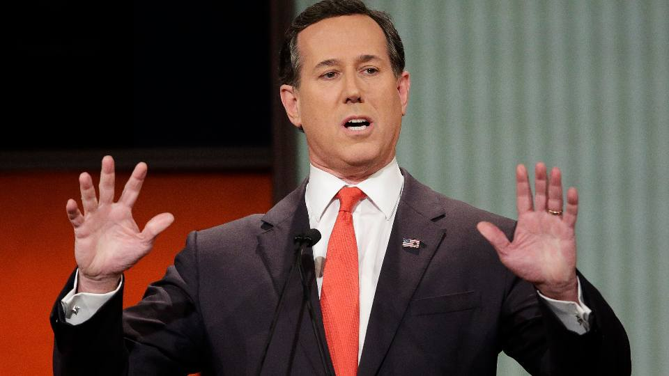 Republican presidential candidate, former Pennsylvania Sen. Rick Santorum speaks during the Fox Business Network Republican presidential debate in North Charleston, S.C. on Jan. 14, 2016. The CNN analyst went on the network to try and explain comments about Native Americans that have led to criticism, but didn't appear to calm things down. Santorum told a group of young conservative last month that there was 'nothing here' when immigrants founded the United States. That angered Native Americans and others. He said on CNN Monday that he was speaking in context of the U.S. government's creation and didn't mean to minimize treatment of Native Americans.