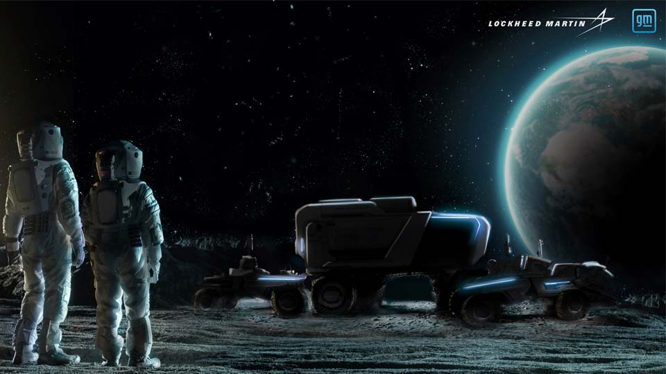This illustration provided by General Motors and Lockheed Martin in May 2021 depicts astronauts and concepts of lunar rovers, developed by the companies, on the surface of the moon. On Wednesday, May 26, 2021, Lockheed and GM announced that they would combine their technological and manufacturing expertise to build the electric vehicles for NASA's Artemis program, named after the twin sister of Apollo in Greek mythology. (Lockheed Martin, GM via AP)