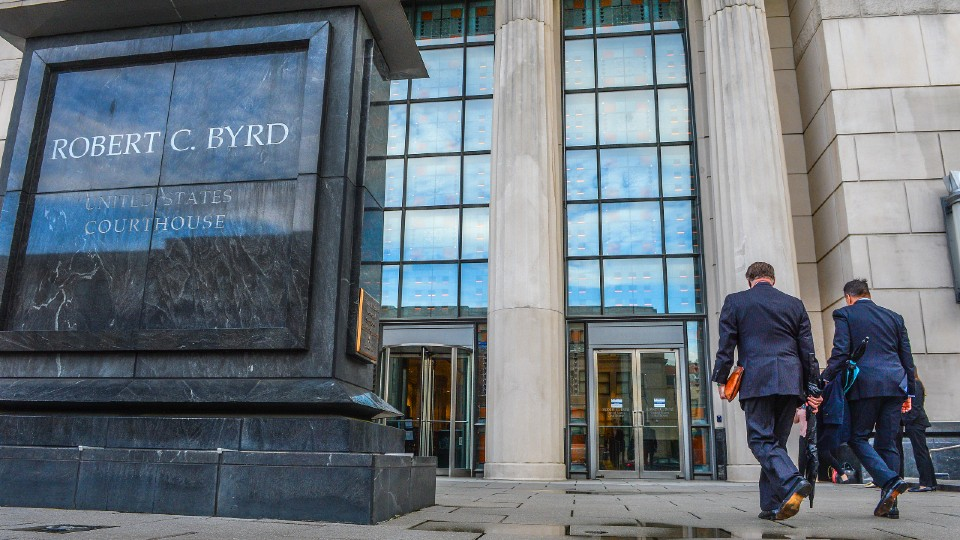 Huntington Mayor Steve Williams and lawyer Rusty Webb at the Robert C. Byrd United States Courthouse in West Virginia