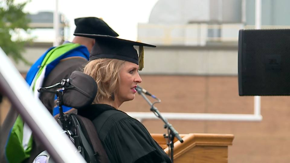Local inspiration Kristin Fox was one of the speakers for YSU's Commencement ceremony.