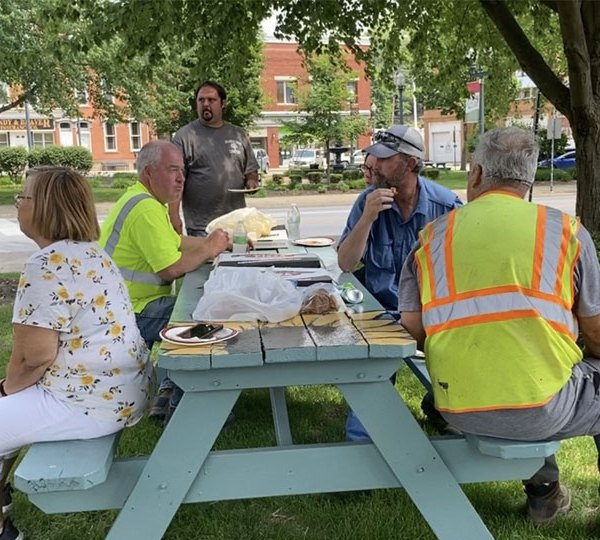 The Lisbon Beautification Committee thanks various village employees with lunch for helping them with their projects.