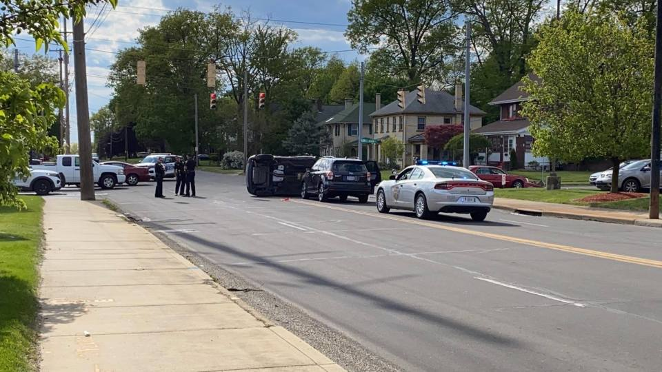 Ohio State Highway Patrol has a section of Midlothian Boulevard blocked while they clean up a rollover accident Saturday evening.