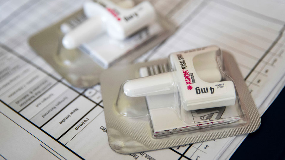 Narcan nasal device which delivers naloxone, overdose reversal drug