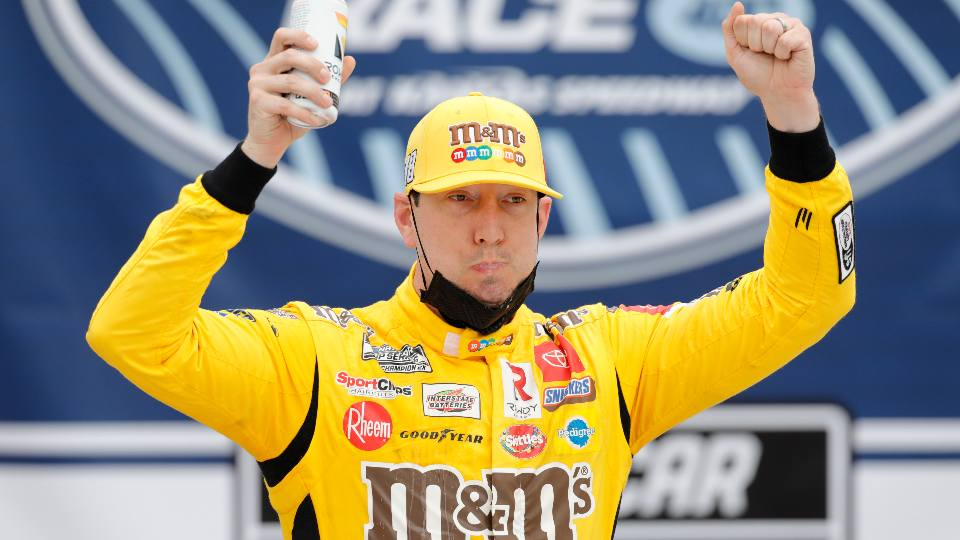 Kyle Busch celebrates in Victory Lane after winning a NASCAR Cup Series auto race at Kansas Speedway in Kansas City, Kan., Sunday, May 2, 2021.
