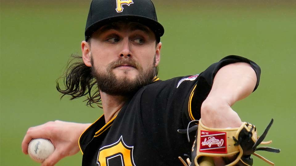 Pittsburgh Pirates starting pitcher JT Brubaker delivers during the second inning in the first baseball game of a doubleheader against the Colorado Rockies in Pittsburgh, Saturday, May 29, 2021. (AP Photo/Gene J. Puskar)