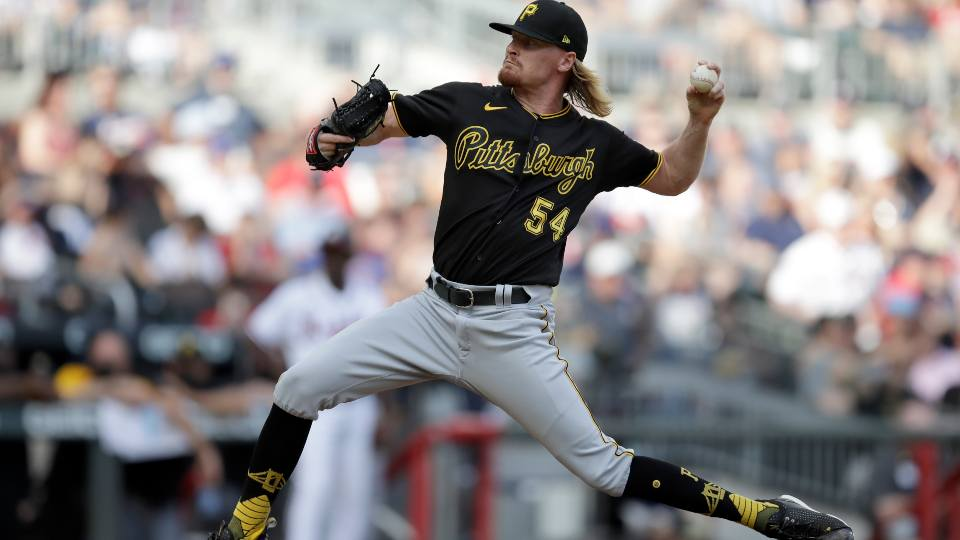 Pittsburgh Pirates pitcher Sam Howard works against the Atlanta Braves in the seventh inning of a baseball game Saturday, May 22, 2021, in Atlanta.