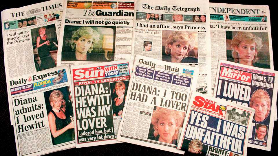 """FILE - In this Nov. 21, 1995 file photo a selection of front pages of most of Britains's national newspapers showing their reaction to Princess Diana's television interview with BBC journalist Martin Bashir. Prince William and his brother Prince Harry have issued strongly-worded statements criticizing the BBC and British media for unethical practices after an investigation found that Bashir used """"deceitful behavior"""" to secure Princess Diana's most explosive TV interview in 1995."""